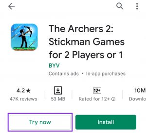 google play store instant play feature
